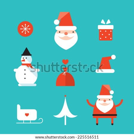 Christmas and New Year icon set. Santa Claus, gift,present. Vector illustration - stock vector