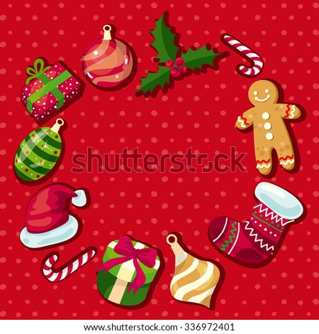 Christmas and New Year icons frame with place for your text - stock vector