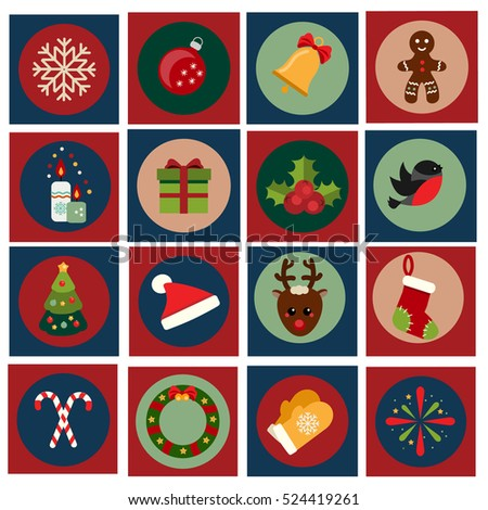 Christmas and new year icons. Vector set of vintage winter holidays symbols. Gingerbread, bell, candy canes, sock and other traditional design elements, stickers