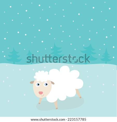 Christmas and New Year illustration in vector. Winter snowy landscape and cute sheep. Funny cartoon illustration can be used for celebration postcard, poster, etc. - stock vector