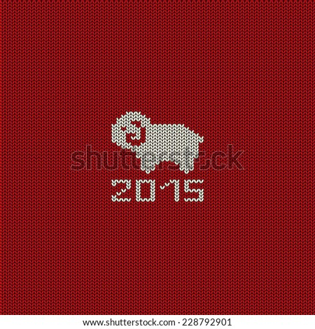 Christmas and New Year knitted pattern card with funny sheep - stock vector