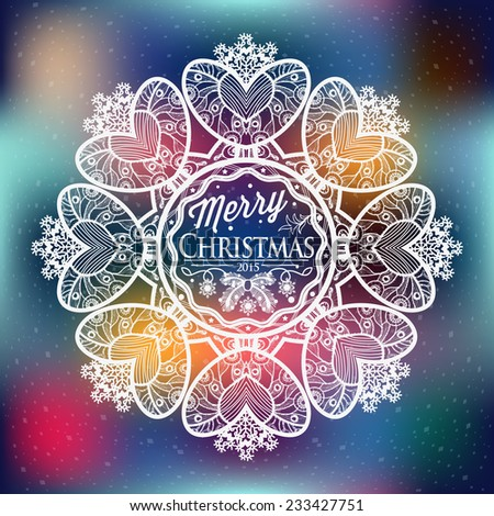 Christmas and New year label decoration of calligraphic design with typographic labels, symbols of the year and icons elements for you. Hand drawn authors work.  - stock vector