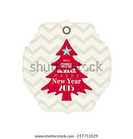 christmas and new year 2015 label with red tree, isolated on white background, vector illustration, eps 10 - stock vector