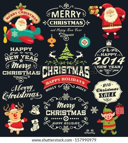 Christmas and New Year labels, icons and elements vector collection - stock vector