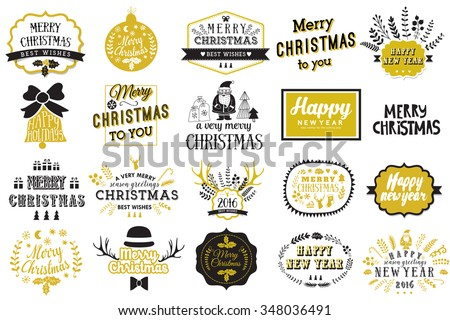 Christmas and New year labels set. Christmas design elements. Christmas hand drawn logos set. Vector winter holidays greetings. - stock vector