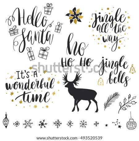 Christmas And New Year 2017 Lettering Decorative Elements Collection Vector Illustration Set For Greeting