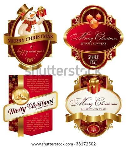 Christmas and new year luxury labels - stock vector