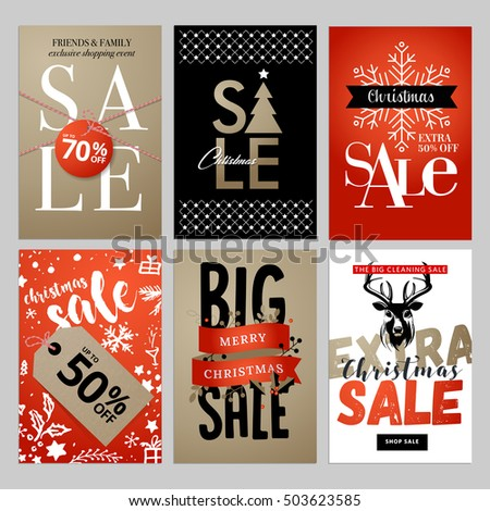 Christmas and New Year mobile sale banners collection. Vector illustrations of online shopping website and mobile website banners, posters, newsletter designs, ads, coupons, social media banners.