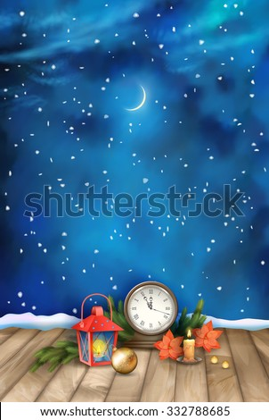 Christmas and New Year Night Watercolor Background with vintage clock candle, poinsettias, Christmas tree branches, Xmas ornaments, lantern - stock vector