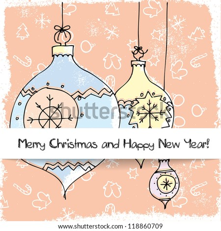 Christmas and New Year pastel greetings card with Christmas Decorations