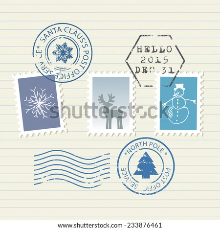 Christmas and New Year postage stamps set - stock vector