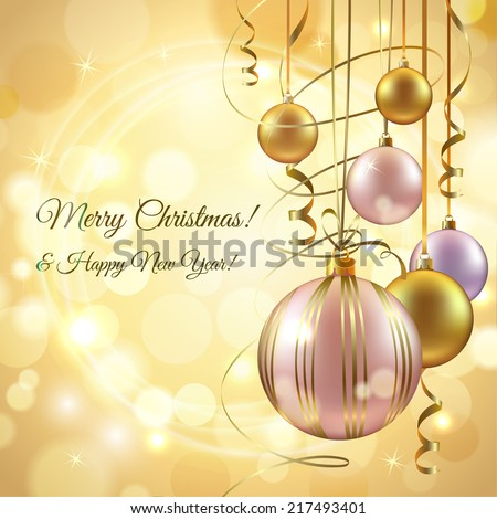 Christmas and new year postcard background template with decoration balls vector illustration - stock vector