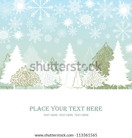 Christmas and New Year red background, xmas retro gift template, abstract beautiful card, forest with graphic christmas trees for design - stock vector