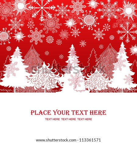 Christmas and New Year red background, xmas retro gift template, abstract beautiful card, graphic christmas trees for design - stock vector