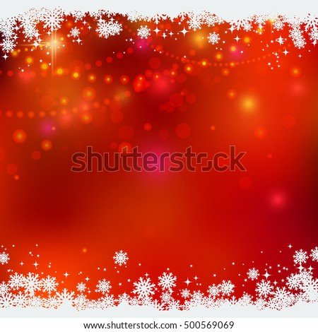 Christmas and New Year red blurry vector background with stars, snowflakes and light effects