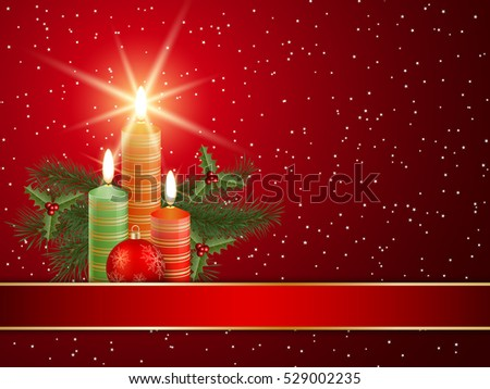 Christmas and New Year red vector background with candles
