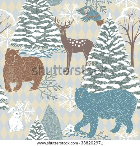 Christmas and New Year retro festive background, Xmas seamless pattern, wrapping paper, night forest with forest animals, winter wallpaper, artistic, fantasy vector holiday, greeting card for design  - stock vector