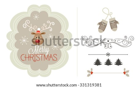 Christmas and new year retro vector design element collection. Reindeer illustration - stock vector