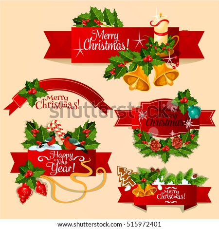 Christmas and New Year ribbon banner set. Red label with holly berry and pine twig, candy cane, bauble ball, bell, candle, gingerbread and bullfinch on wavy ribbon. Winter holidays theme design