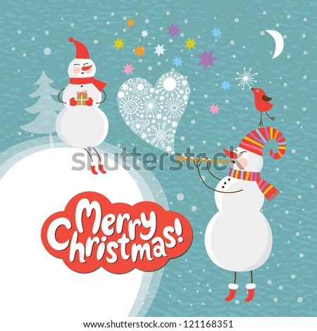 Christmas and New Year's card - stock vector