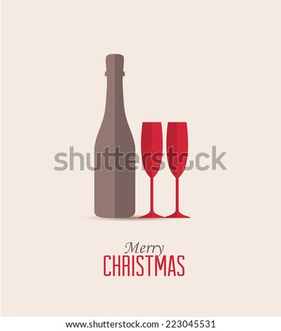 Christmas and New Year's card, New Year's drink - stock vector
