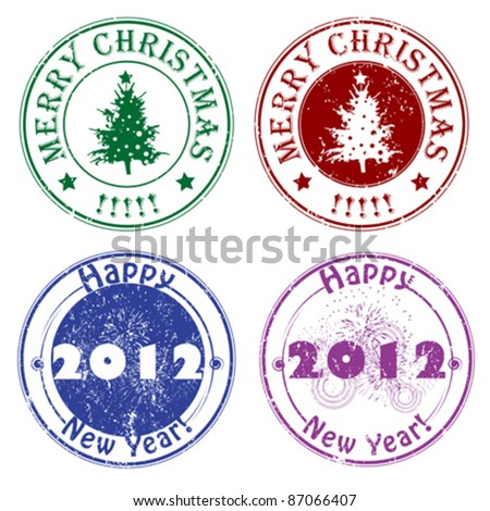 Christmas and New Year's Eve stamps, winter greetings