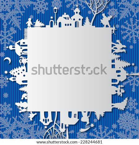 Christmas and New Year's paper frame with silhouette of town and people on blue background. Vector greetings card - stock vector