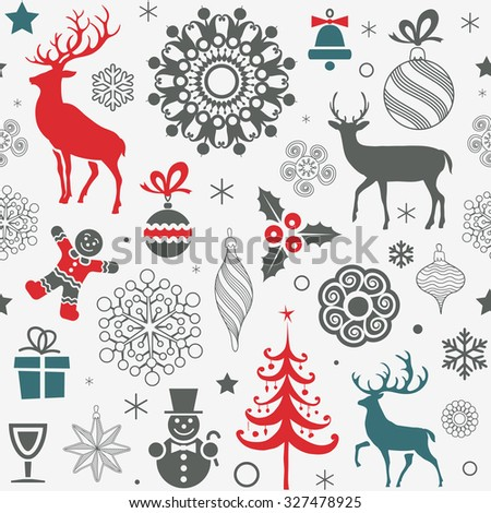 Christmas and New Year's Seamless Pattern - stock vector