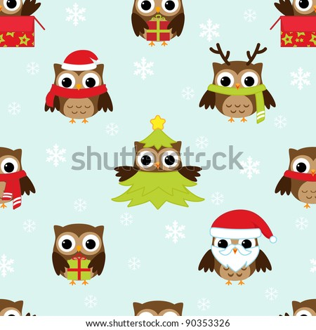 Christmas and New Year's vector pattern with owls in funny costumes - stock vector