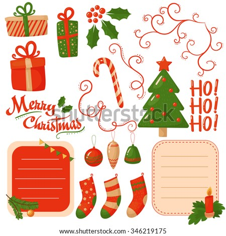Christmas  and New Year scrapbook elements. Vector set illustration. - stock vector