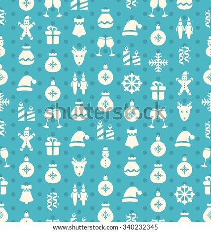 Christmas and New Year Seamless background pattern with traditional xmas element - vector - stock vector