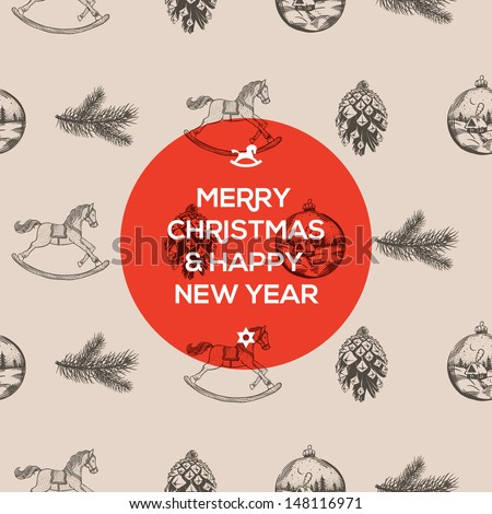 Christmas and New Year seamless hand-drawn pattern, vector illustration.  - stock vector