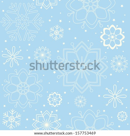 Christmas and new year seamless pattern illustration with snowflakes. EPS 10. No transparency. No gradients. - stock vector