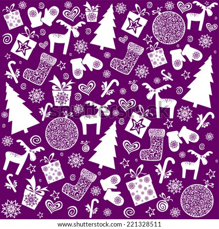 Christmas and New Year seamless pattern. Vector Illustration  - stock vector