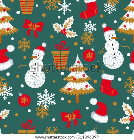 Christmas and New Year seamless pattern with doodle snowmen, fir trees, gifts and snowflakes. Vector holiday background.