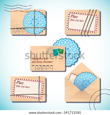 Christmas and New Year set of letters in envelopes