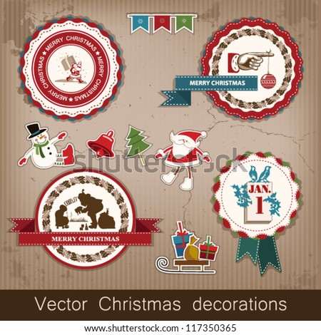 Christmas and New Year. set of vector decorative items, antique and vintage jewelry, banners, stamps, stickers, with snowflakes and stars design. Santa Claus, Christmas tree, snowman, reindeer. vector - stock vector