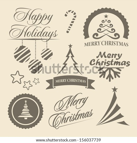 Christmas and New Year symbols for postcard, invitation, poster and others Decoration collection. Set of calligraphic and typographic elements, frames, vintage labels.  - stock vector