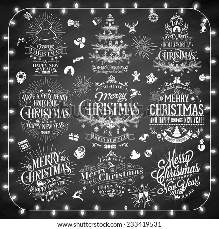 Christmas And New year Typographical Design Set On Chalkboard - stock vector