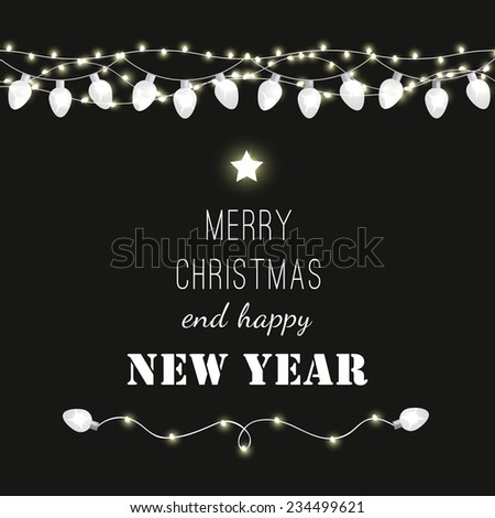 Christmas and New Year vector card with festive garland lights. Vector illustration EPS 10 ...