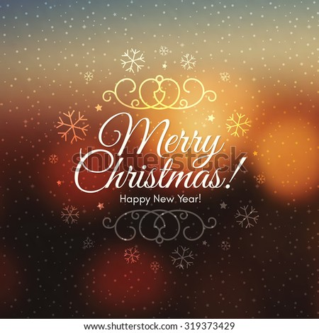 Christmas and New Year. Vector greeting card - stock vector