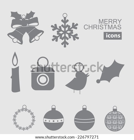 Christmas and New Year vector icon. silhouette with social icon and twitter bird - stock vector