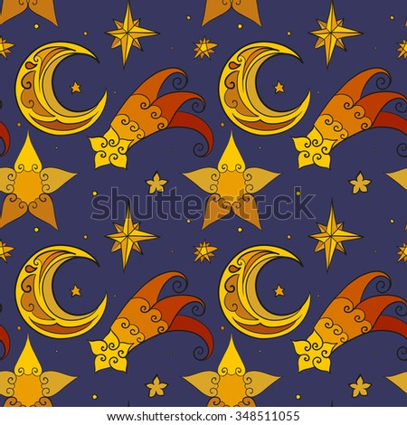 Christmas and New Year vector seamless pattern. Hand-drawn multicolored stars and moon. Blue background. For backdrop, fabric, wallpaper, wrapping, winter holiday design. Eps 8. - stock vector