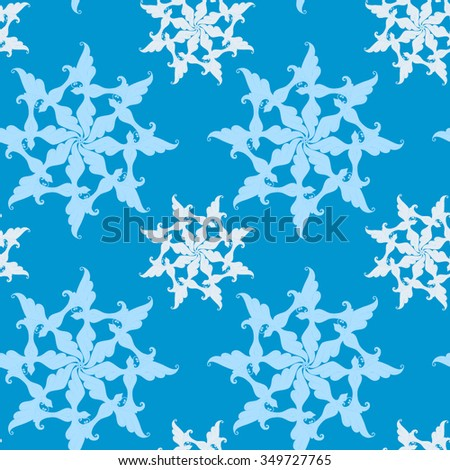 Christmas and New Year vector seamless pattern. Hand-drawn snowflakes. Blue background. For backdrop, fabric, wallpaper, wrapping, winter holiday design. Eps 8. - stock vector