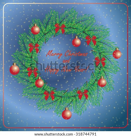 Christmas and New Year vintage greeting cards with holiday symbol wreath on blue star sky background. Elegant winter decor pattern for your design. Easily editable vector illustration - stock vector