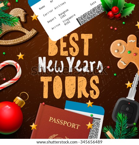 Christmas and New Year, winter vacations travel, holidays, tours, vector illustration. - stock vector