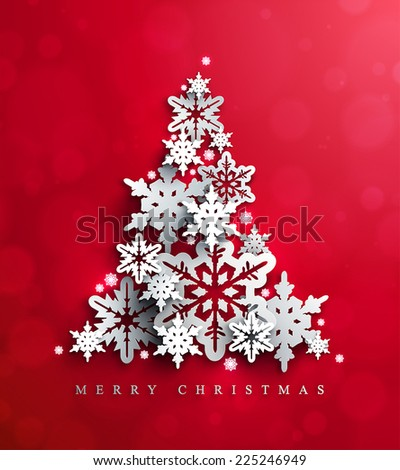 Christmas and New Years red background with  Christmas Tree made of cutout paper snowflakes.  - stock vector