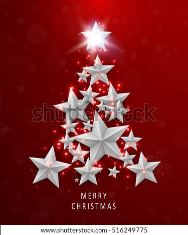 Christmas and New Years red background with Christmas Tree made of  stars. Vector illustration.