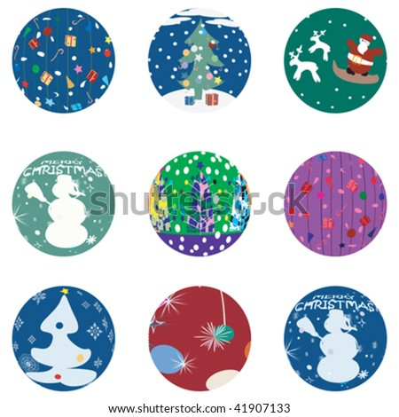 Christmas and NewYears Evebuttons collection - stock vector