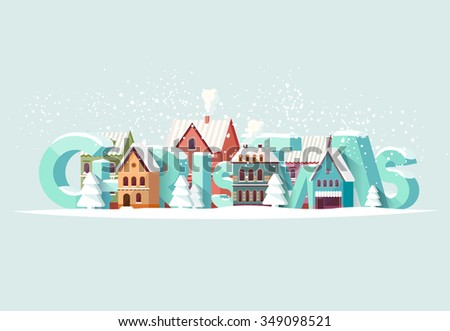 Christmas and old city. Greeting card. - stock vector